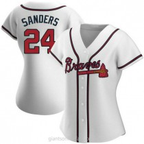 Womens Deion Sanders Atlanta Braves #24 Authentic White Home A592 Jerseys