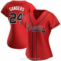 Womens Deion Sanders Atlanta Braves #24 Replica Red Alternate A592 Jersey