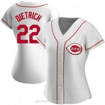 Womens Derek Dietrich Cincinnati Reds #22 Authentic White Home A592 Jersey