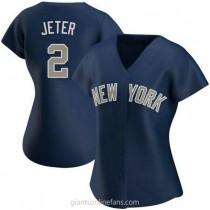 Womens Derek Jeter New York Yankees #2 Replica Navy Alternate A592 Jerseys