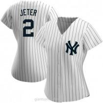 Womens Derek Jeter New York Yankees #2 Replica White Home Name A592 Jersey
