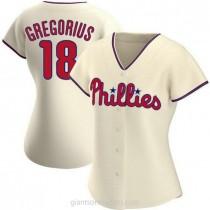 Womens Didi Gregorius Philadelphia Phillies #18 Authentic Cream Alternate A592 Jersey