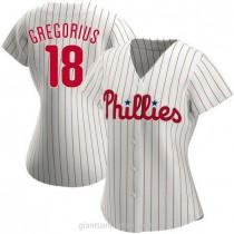 Womens Didi Gregorius Philadelphia Phillies #18 Authentic White Home A592 Jersey