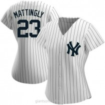 Womens Don Mattingly New York Yankees #23 Authentic White Home Name A592 Jersey