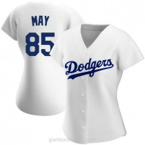 Womens Dustin May Los Angeles Dodgers #85 Authentic White Home A592 Jersey