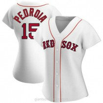 Womens Dustin Pedroia Boston Red Sox #15 Authentic White Home A592 Jersey