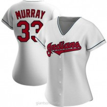 Womens Eddie Murray Cleveland Indians #33 Authentic White Home A592 Jerseys