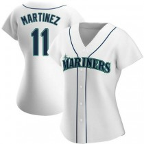 Womens Edgar Martinez Seattle Mariners #11 Authentic White Home A592 Jerseys