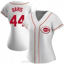 Womens Eric Davis Cincinnati Reds #44 Replica White Home A592 Jersey
