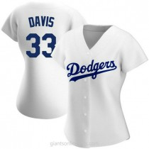 Womens Eric Davis Los Angeles Dodgers #33 Authentic White Home A592 Jersey
