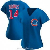 Womens Ernie Banks Chicago Cubs #14 Authentic Royal Alternate A592 Jersey