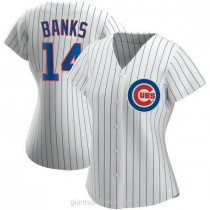 Womens Ernie Banks Chicago Cubs #14 Authentic White Home A592 Jersey