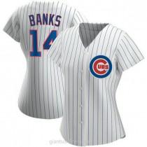 Womens Ernie Banks Chicago Cubs #14 Replica White Home A592 Jersey