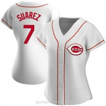 Womens Eugenio Suarez Cincinnati Reds #7 Authentic White Home A592 Jerseys