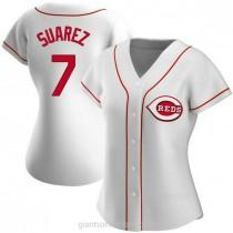 Womens Eugenio Suarez Cincinnati Reds #7 Replica White Home A592 Jersey