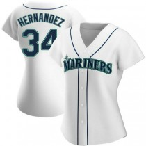 Womens Felix Hernandez Seattle Mariners #34 Authentic White Home A592 Jerseys