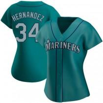 Womens Felix Hernandez Seattle Mariners Replica Aqua Alternate A592 Jersey