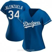 Womens Fernando Valenzuela Los Angeles Dodgers #34 Authentic Royal Alternate A592 Jersey