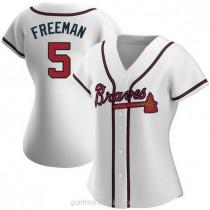 Womens Freddie Freeman Atlanta Braves #5 Authentic White Home A592 Jerseys