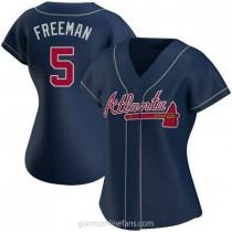 Womens Freddie Freeman Atlanta Braves Authentic Navy Alternate A592 Jersey