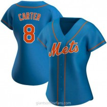 Womens Gary Carter New York Mets #8 Authentic Royal Alternate A592 Jersey