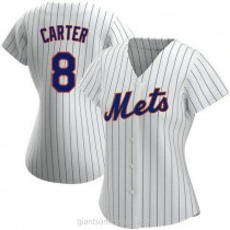 Womens Gary Carter New York Mets #8 Authentic White Home A592 Jersey