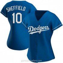 Womens Gary Sheffield Los Angeles Dodgers #10 Authentic Royal Alternate A592 Jersey