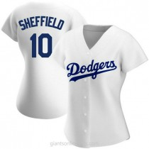Womens Gary Sheffield Los Angeles Dodgers #10 Authentic White Home A592 Jersey