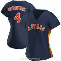 Womens George Springer Houston Astros #4 Authentic Navy Alternate A592 Jersey