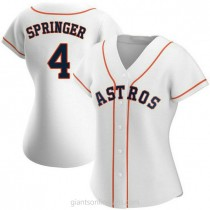Womens George Springer Houston Astros #4 Replica White Home A592 Jerseys