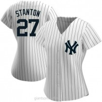 Womens Giancarlo Stanton New York Yankees #27 Authentic White Home Name A592 Jerseys