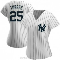 Womens Gleyber Torres New York Yankees #25 Authentic White Home Name A592 Jersey