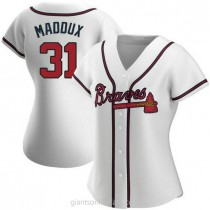 Womens Greg Maddux Atlanta Braves #31 Authentic White Home A592 Jersey