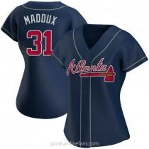Womens Greg Maddux Atlanta Braves Replica Navy Alternate A592 Jersey