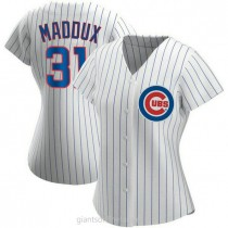 Womens Greg Maddux Chicago Cubs #31 Authentic White Home A592 Jersey