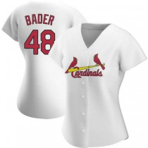 Womens Harrison Bader St Louis Cardinals #48 White Home A592 Jersey Authentic
