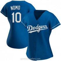 Womens Hideo Nomo Los Angeles Dodgers #10 Authentic Royal Alternate A592 Jerseys