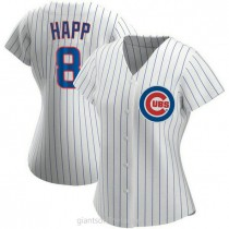 Womens Ian Happ Chicago Cubs #8 Authentic White Home A592 Jersey