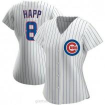 Womens Ian Happ Chicago Cubs #8 Replica White Home A592 Jersey