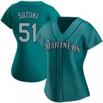 Womens Ichiro Suzuki Seattle Mariners #51 Authentic Aqua Alternate A592 Jerseys
