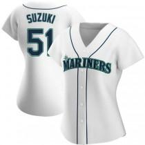 Womens Ichiro Suzuki Seattle Mariners #51 Authentic White Home A592 Jerseys