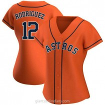 Womens Ivan Rodriguez Houston Astros #12 Authentic Orange Alternate A592 Jersey