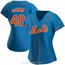 Womens Jacob Degrom New York Mets #48 Authentic Royal Alternate A592 Jerseys
