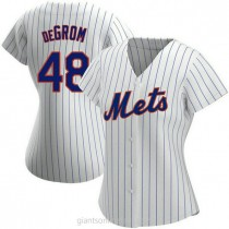Womens Jacob Degrom New York Mets #48 Authentic White Home A592 Jersey