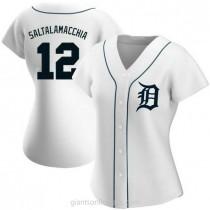 Womens Jarrod Saltalamacchia Detroit Tigers #12 Authentic White Home A592 Jersey