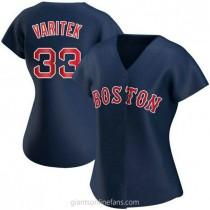 Womens Jason Varitek Boston Red Sox #33 Replica Navy Alternate A592 Jerseys