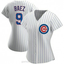 Womens Javier Baez Chicago Cubs #9 Authentic White Home A592 Jersey