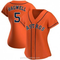 Womens Jeff Bagwell Houston Astros #5 Authentic Orange Alternate A592 Jersey