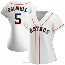 Womens Jeff Bagwell Houston Astros #5 Replica White Home A592 Jersey