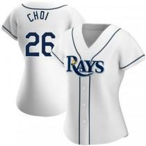 Womens Ji Man Choi Tampa Bay Rays #26 Authentic White Home A592 Jerseys